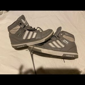 Gray and white Adidas hightops in kids size 2
